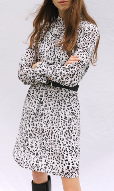 Saniya Pleated High Neck Leopard Dress