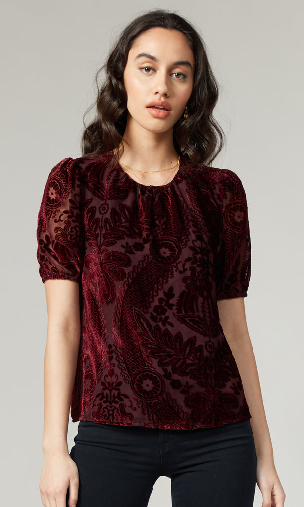Hana Burn Out Velvet Blouse