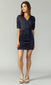 ruched sleeve mini dress navy