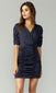 navy ruched mini dress