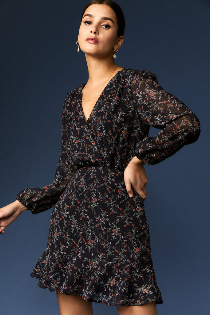 women's navy floral long sleeve ruffle mini dress