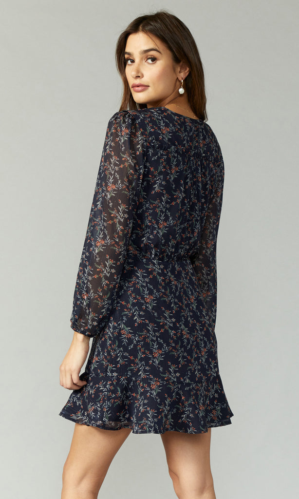 women's navy floral long sleeve ruffle dress