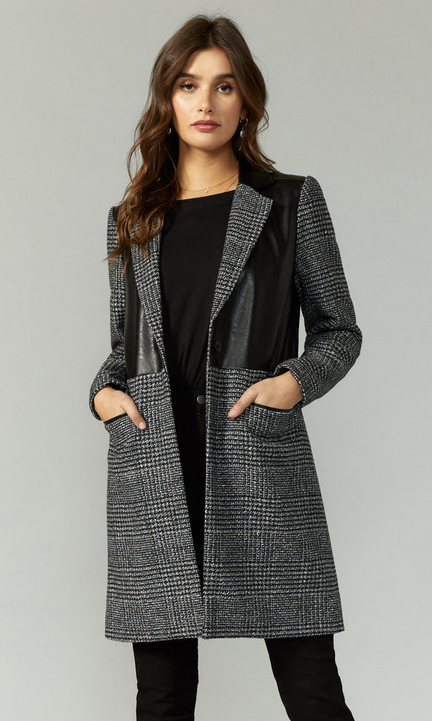 women's chic leather plaid trench coat
