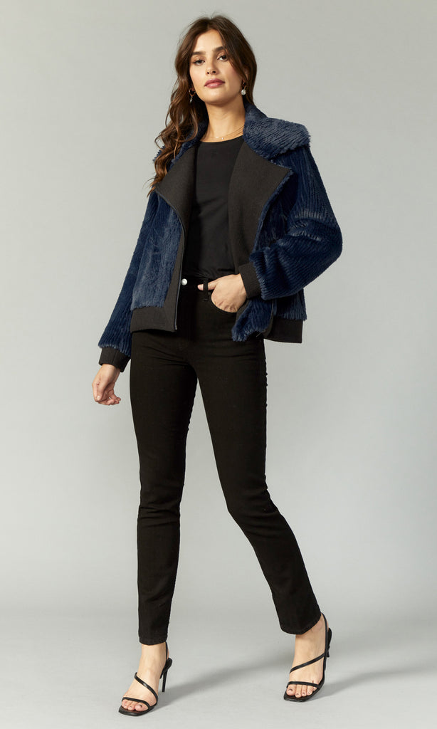 Black and blue moto jacket women's