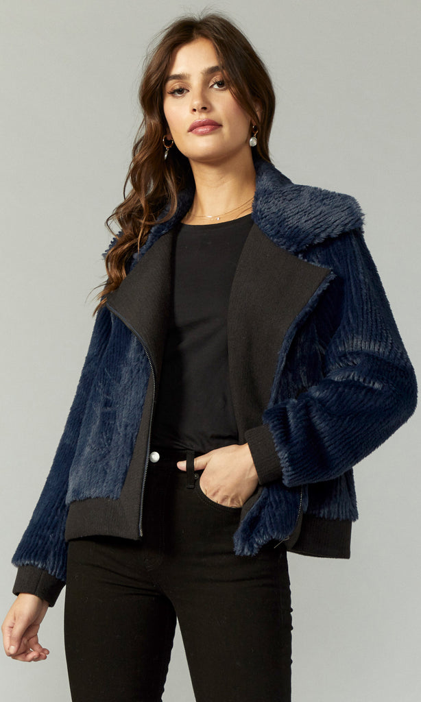 blue feather moto jacket