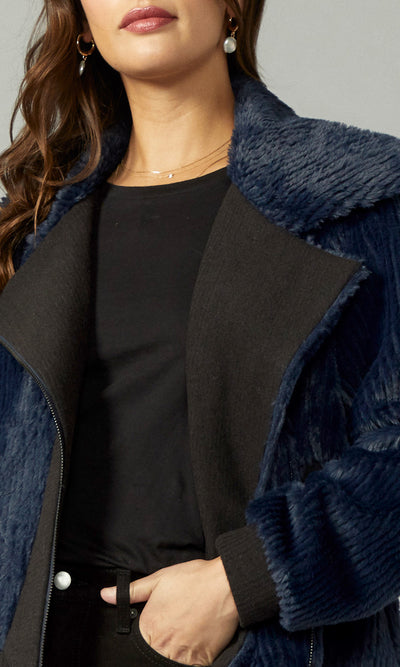 Blue faux fur moto jacket women's
