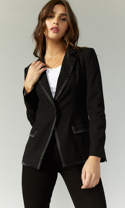 women's black blazer with satin stripe