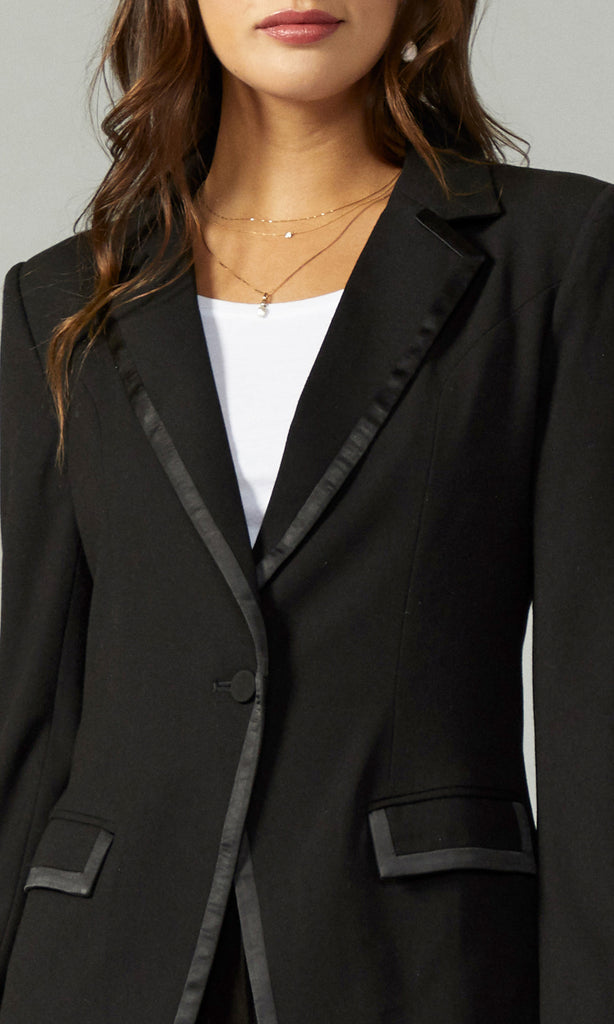 black fitted contrast fabric blazer