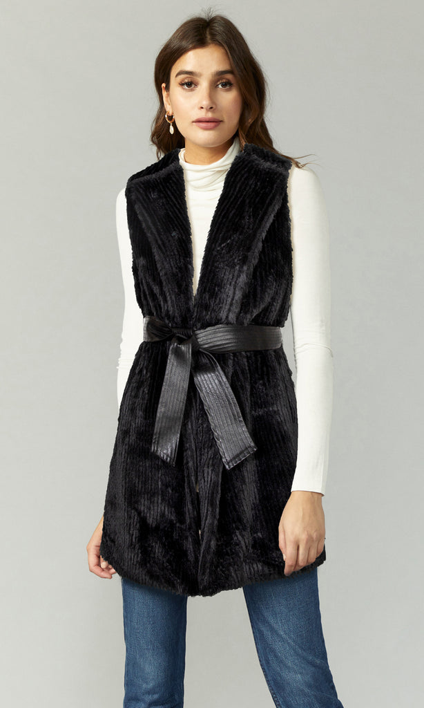 black fur vest dress