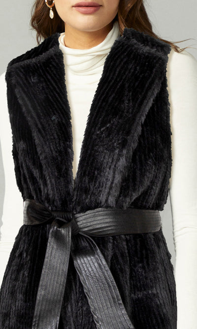 Priscilla Faux Fur Vest with Vegan Leather Belt Tie