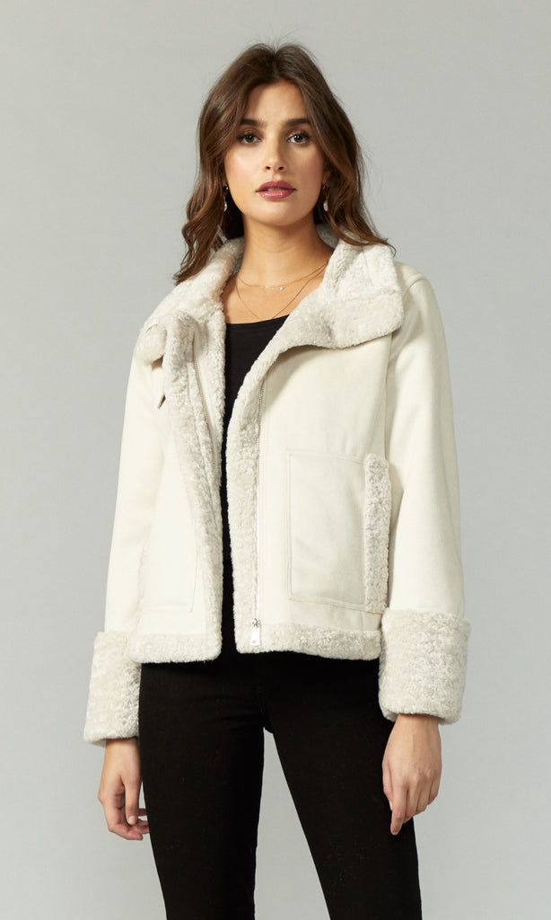 white suede jacket with sherpa lining women's
