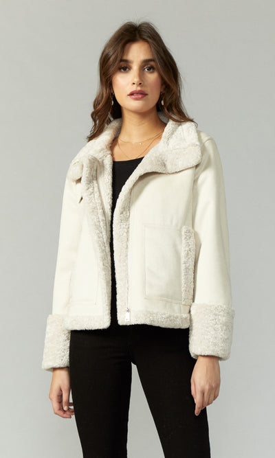 Landon Faux Fur Suede Sherpa Jacket