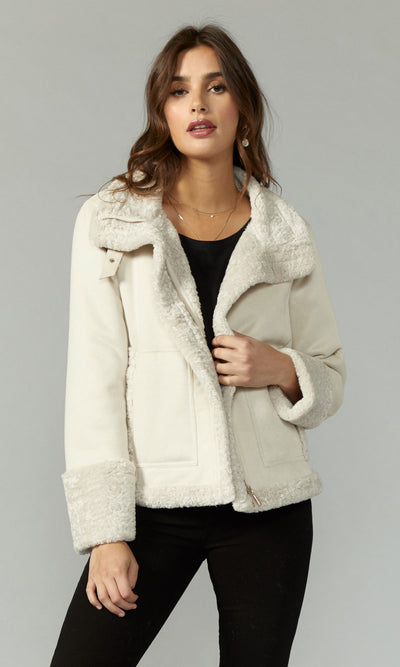White suede moto jacket with sherpa lining women's