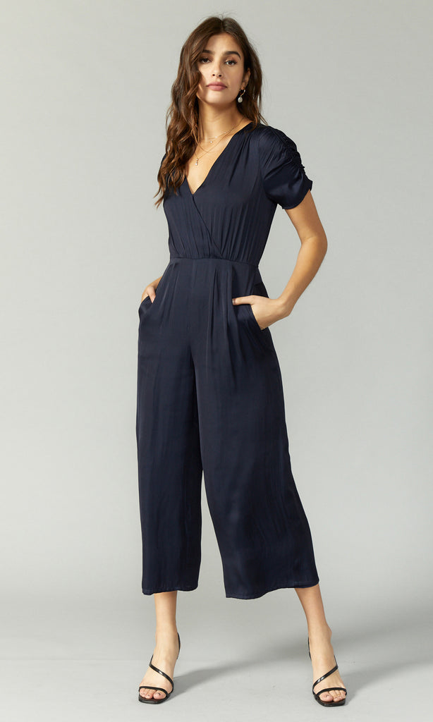women's navy ruched sleeve jumpsuit