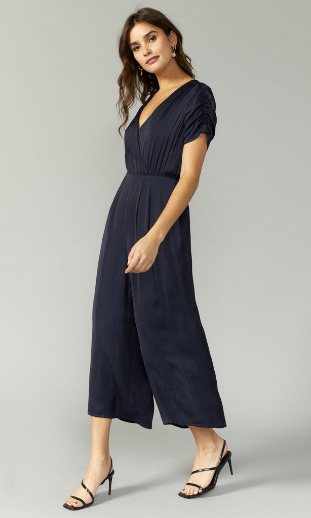 satin navy ruched sleeve jumpsuit