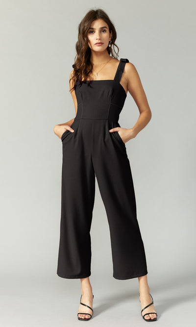 women's black bow tie shoulder jumpsuit
