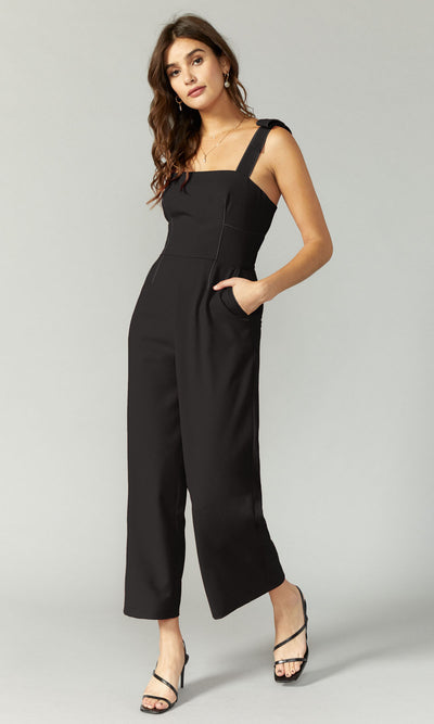 women's black jumpsuit with contrast stitching