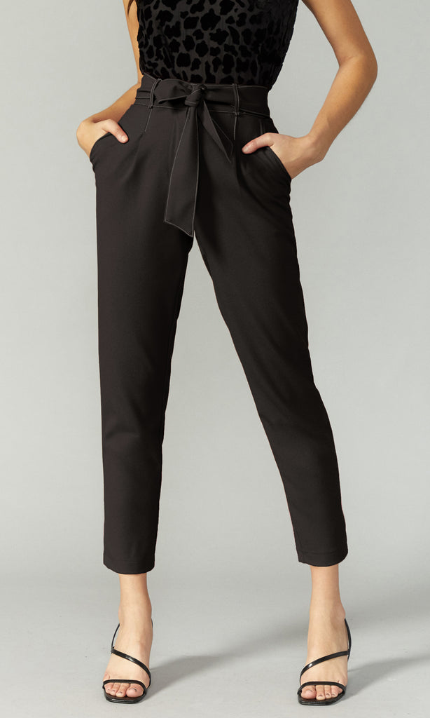 black contrast stitch trouser with tie belt