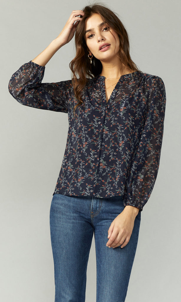 women's long sleeve sheer floral blouse