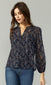 sheer flower blouse navy