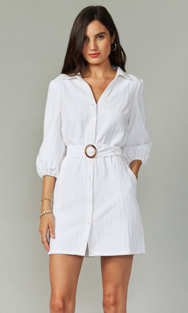 Stella Belted Textured Shirtdress