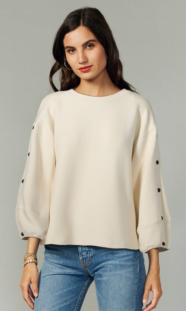 Becka Button Sleeve Modal Knit Top