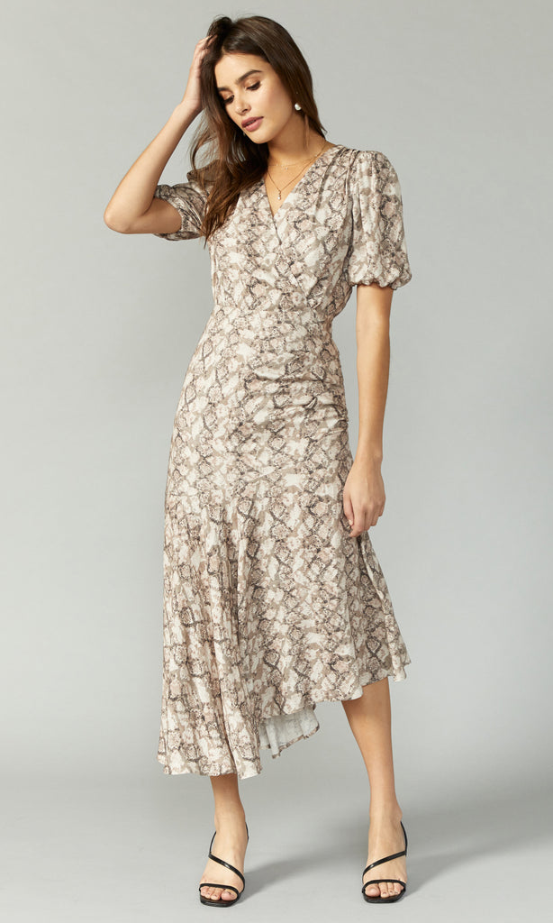 puffy sleeve snake print long dress