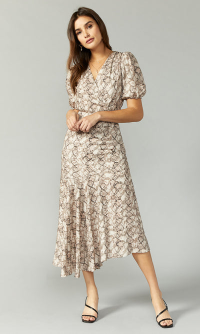 snake print puffy sleeve maxi dress