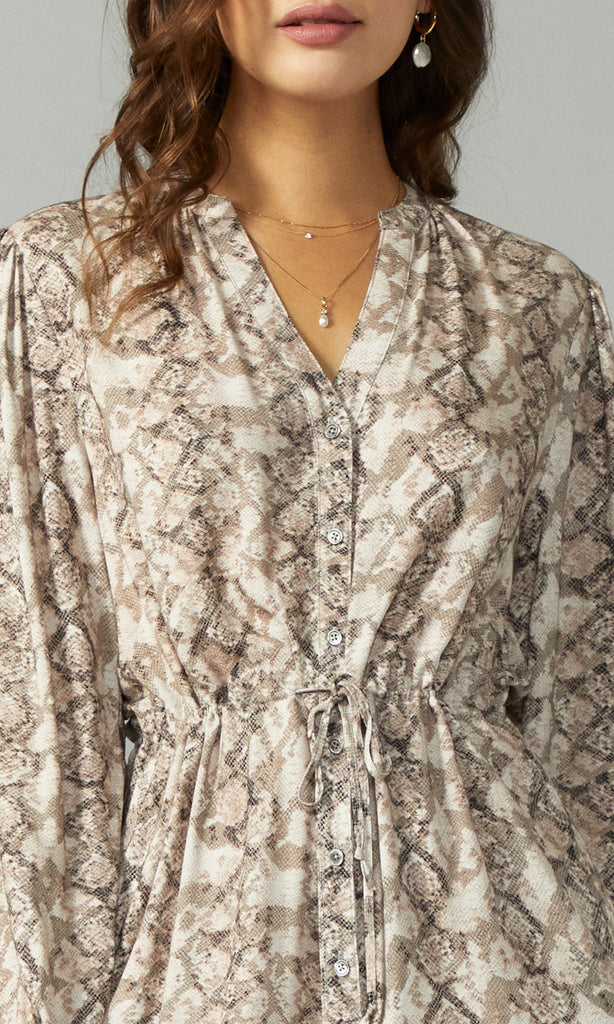 Sachi Snake Print Button Up Dress
