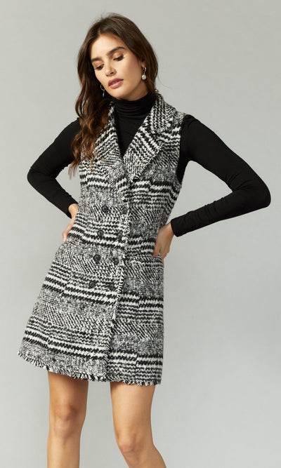 Brianne Houndstooth Double Breasted Tweed Vest