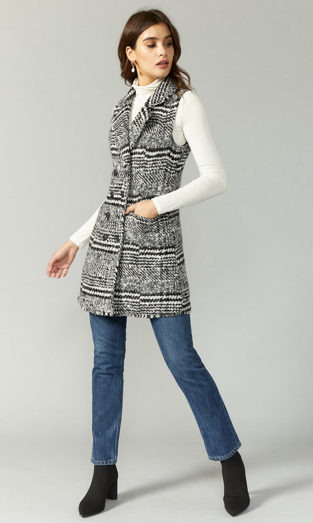 women's black and white tweed vest