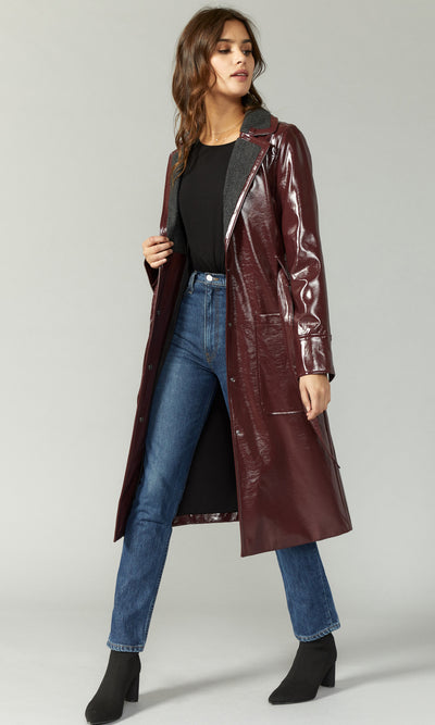 NYC chic leather trench coat