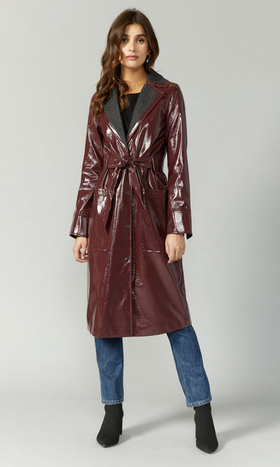 waterproof maroon leather trench coat