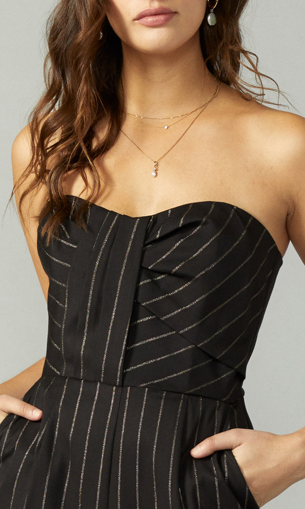 Cristal Stripe Strapless Jumpsuit