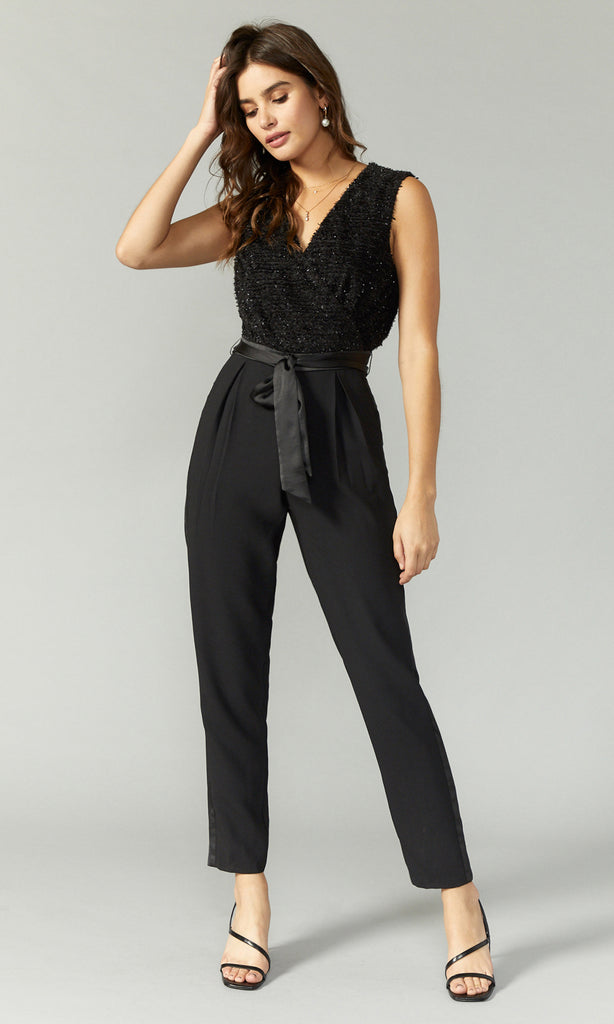 women's black shimmer jumpsuit