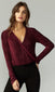 burgunday velvet long sleeve shimmery blouse
