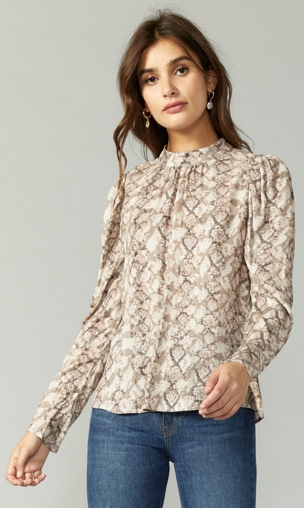 snake print long sleeve mock neck