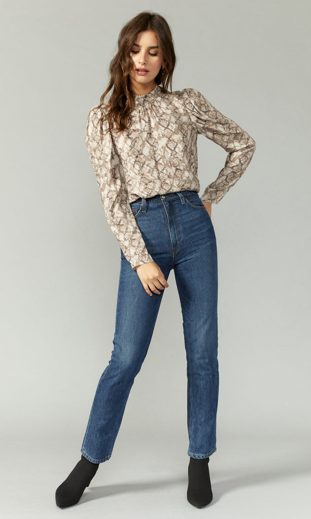Ava Snake Print Long Sleeve Blouse