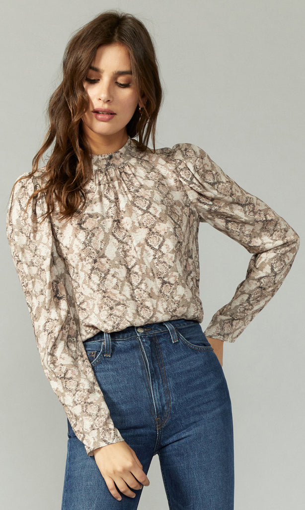 snake print mock neck long sleeve shirt