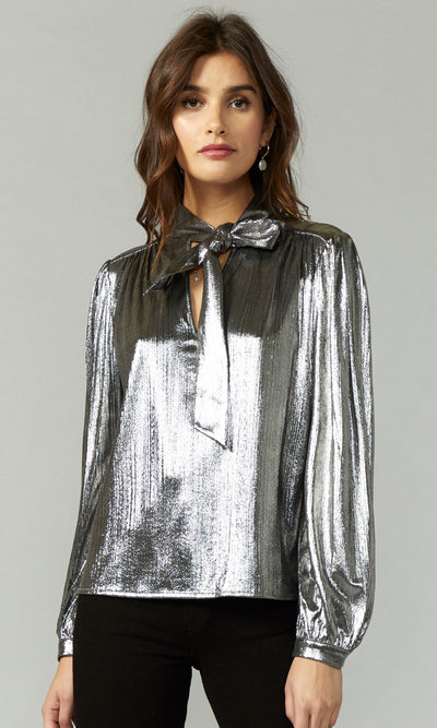 women's long sleeve silver blouse