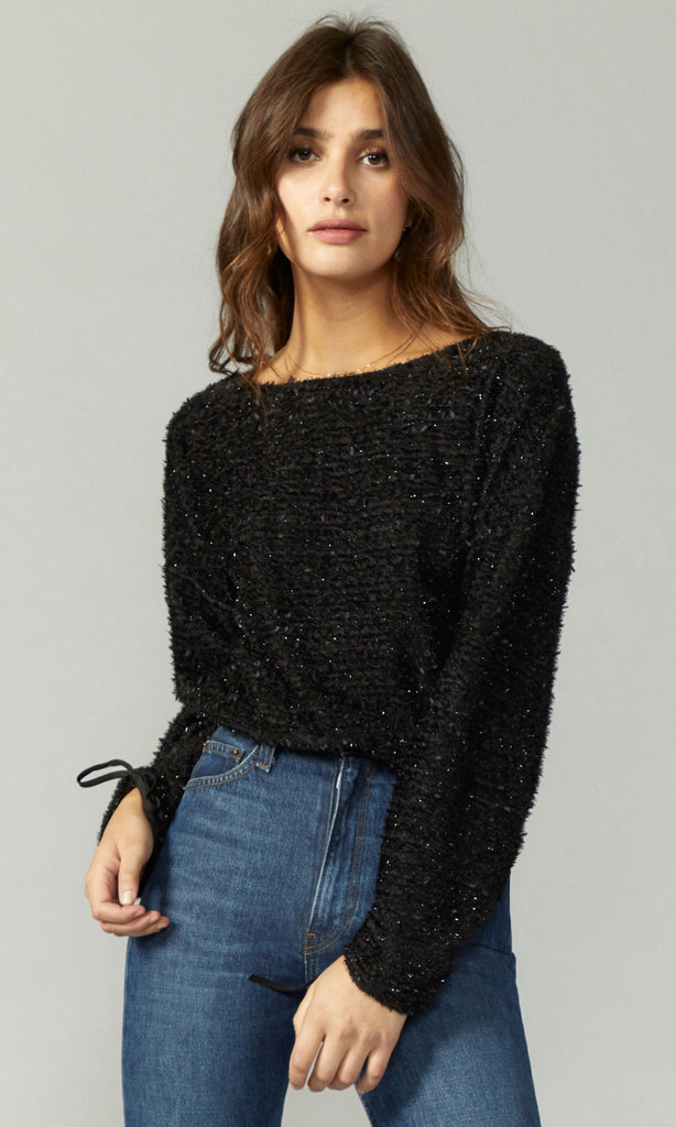 Kaily Ribbon Knit Gathered Sleeve Top
