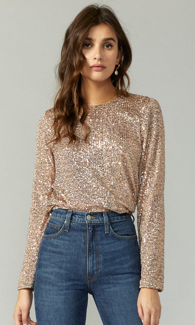 women's long sleeve sequin blouse