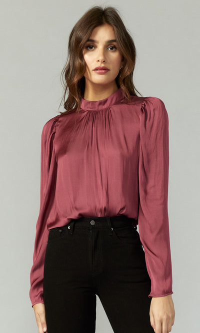 Ava Solid Pouf Long-Sleeve Top
