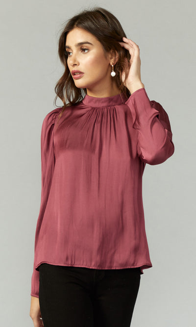women's silk long sleeve mock neck blouse