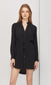 women's black button up dress