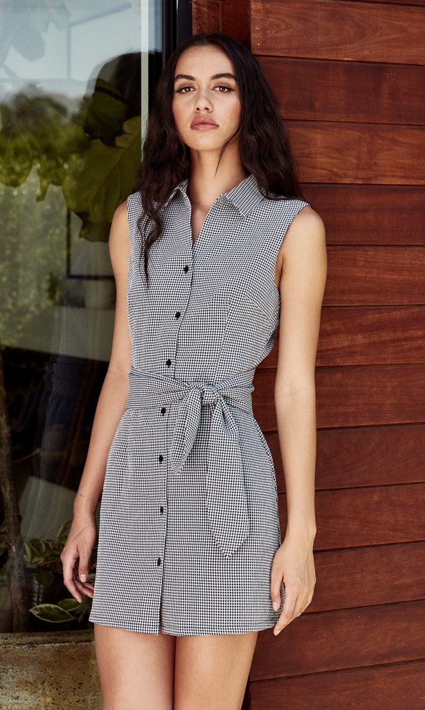 midnight gingham tie-waisted dress