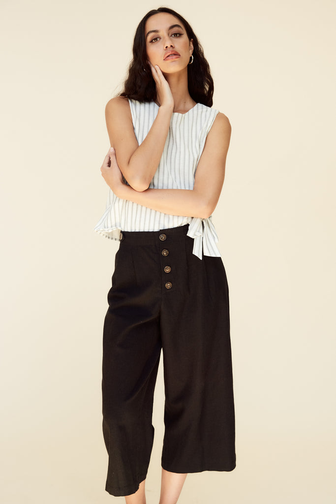 women's black button front pants