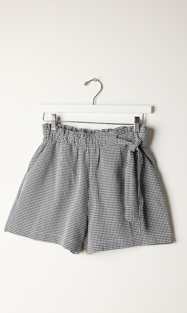 navy gingham high waist shorts