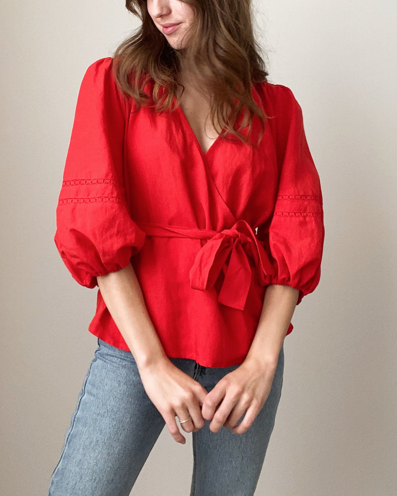 Nuella Tencel Linen Wrap Top