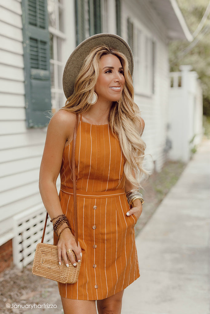 stripe orange mini dress